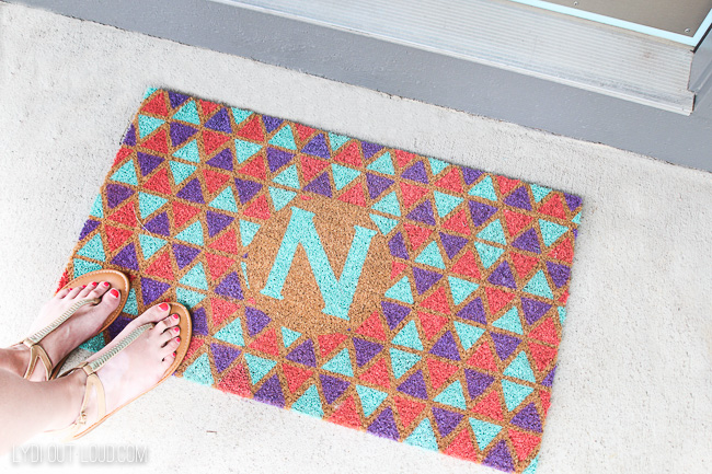 Painted Geometric Monogram Doormat