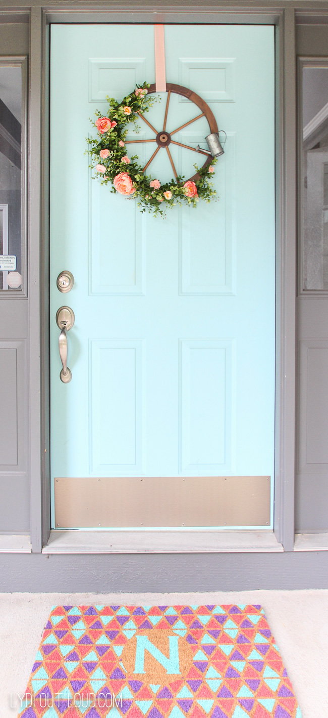 Colorful porch with DIY Painted Doormat