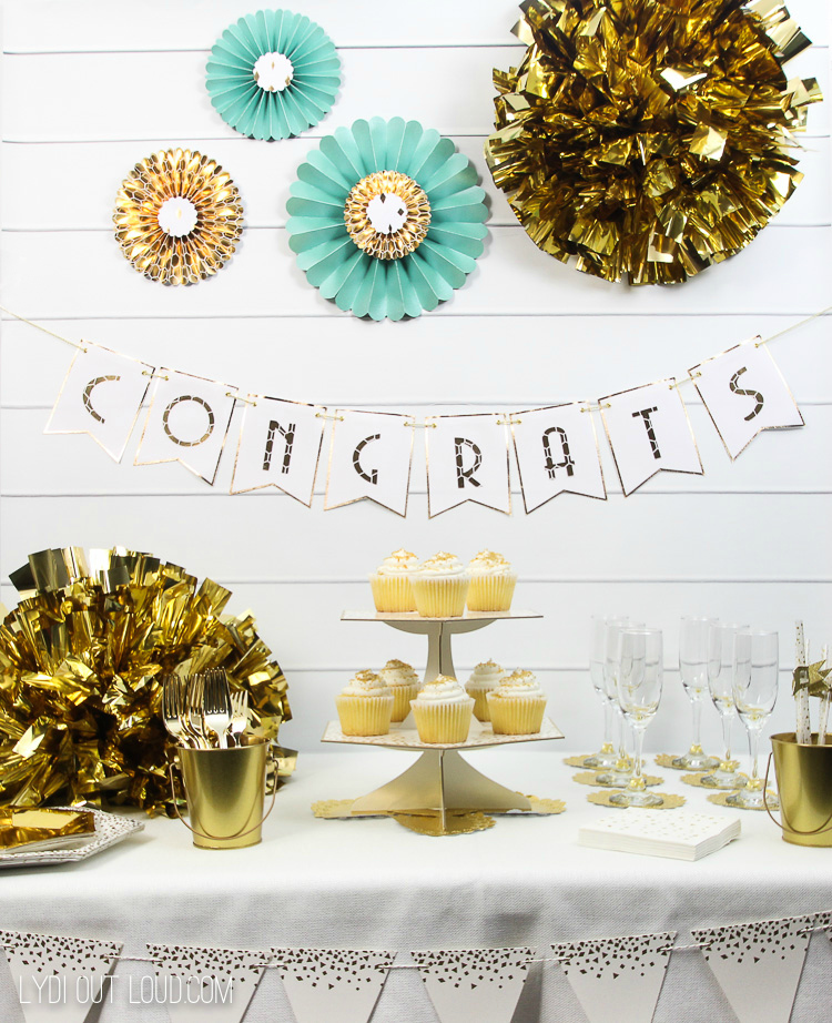 Elegant Gold Engagement Party Decorations