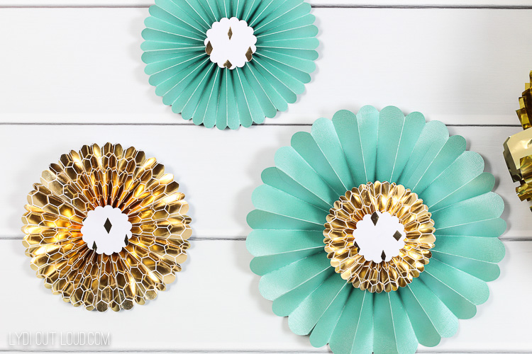 Cricut Wall Rosettes - Engagement party decorations