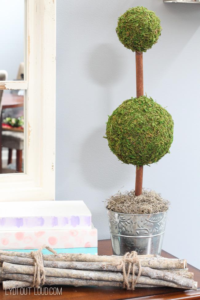 Easy Decorative DIY Moss Topiary