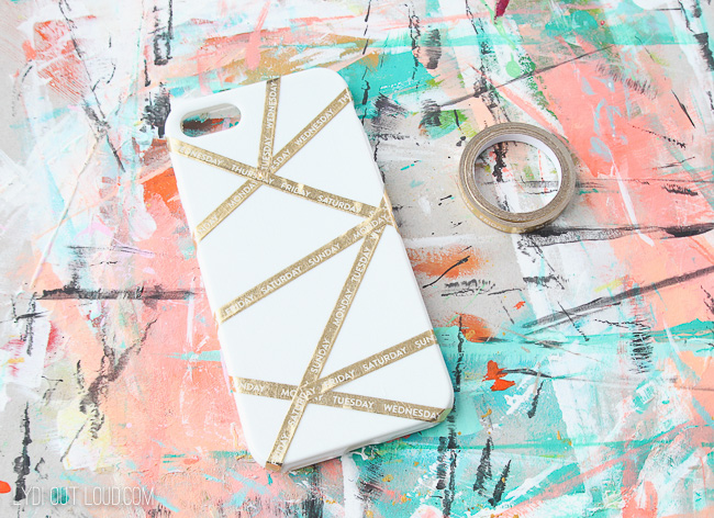 Create abstract pattern for painted cell phone case with washi tape