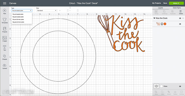 Use templates in Cricut Design Space to customize a personalized hostess gift plate
