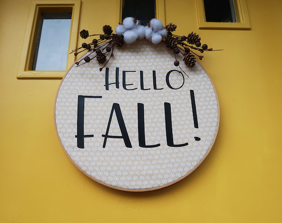 Hello Fall Embroidery Hoop Wreath