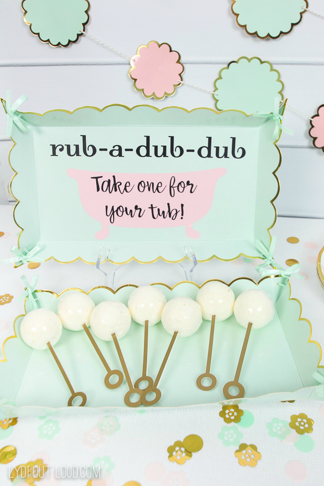 Bath Bomb Baby Shower Favors with Sign