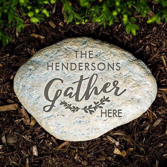 """Gather Here"" Engraved Garden Stone"