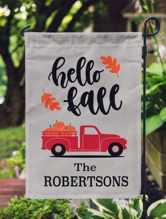 Personalized Hello Fall Garden Flag