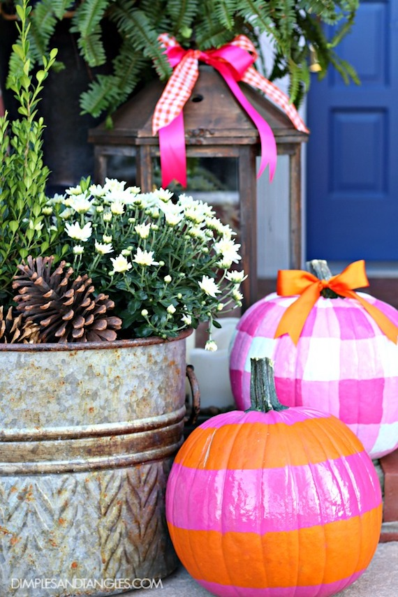 Fall Porch Decor - pink and orange pumpkins