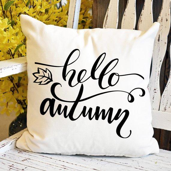 Hello Autumn Porch Pillow