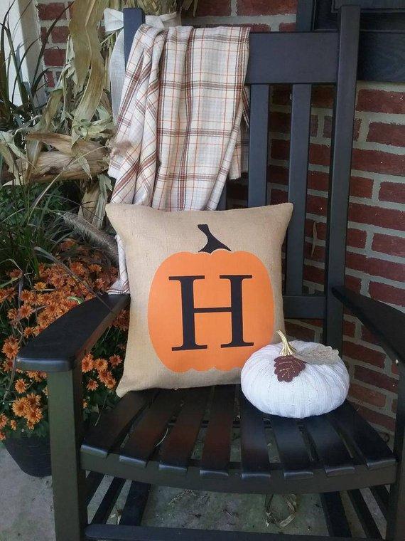 Monogram Outdoor Pumpkin Pillow
