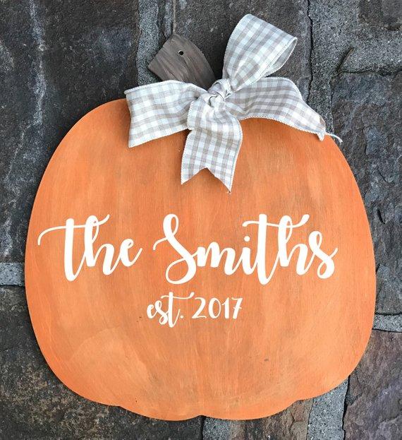 Personalized Pumpkin Door Hanger