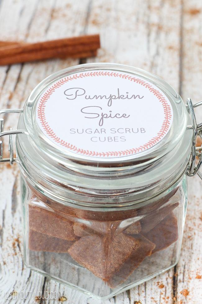 Pumpkin Spice Sugar Scrub Cubes with Printable Label