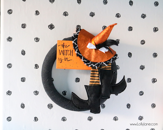 The Witch is In DIY Halloween Wreath - Lolly Jane Blog