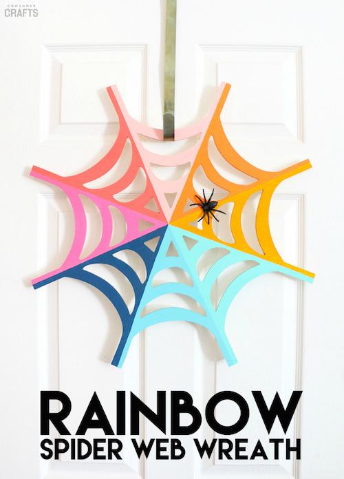 DIY Rainbow Spiderweb Wreath