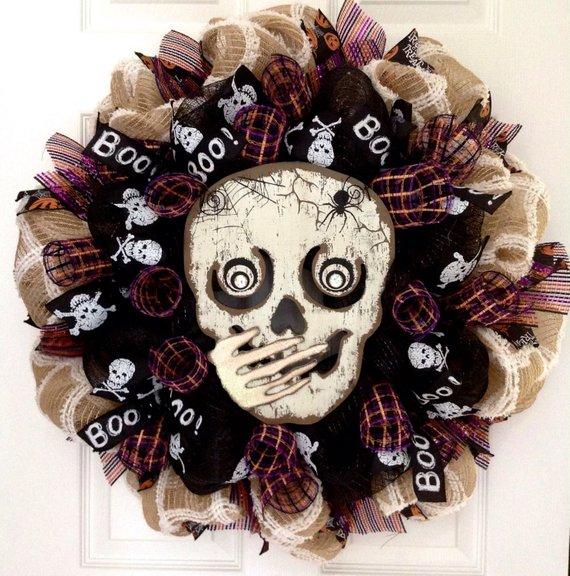 Whispering Skull Wreath for Halloween