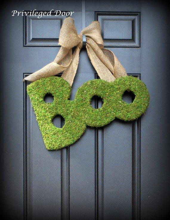 BOO Moss Halloween Wreath