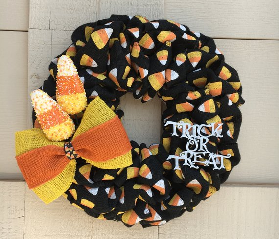 Burlap Candy Corn Wreath