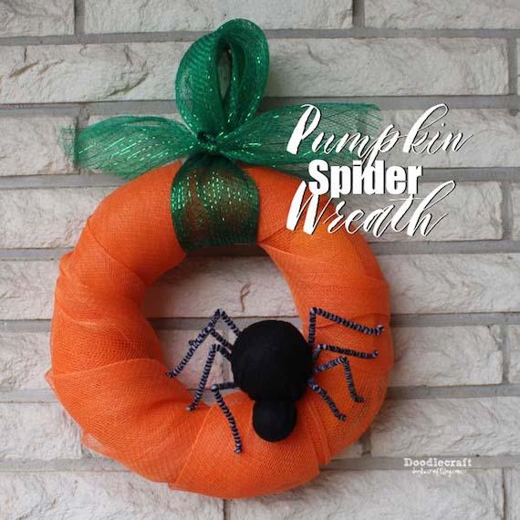 DIY Pumpkin Spider Wreath