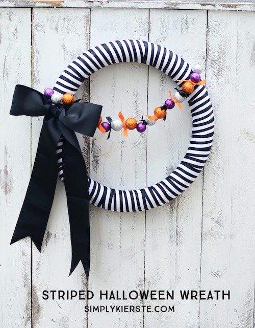 Striped DIY Halloween Wreath