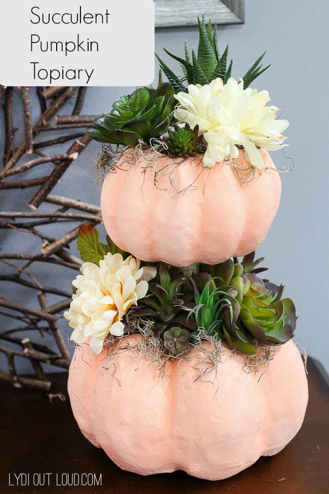 DIY Succulent Pumpkin Topiary Tutorial