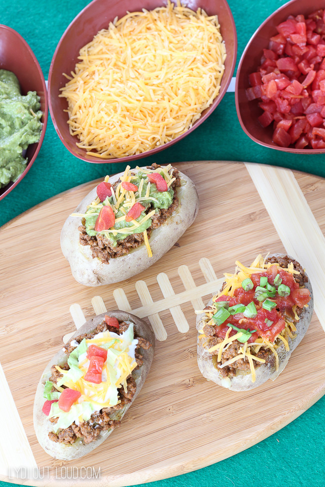 Taco Stuffed Baked Potato Bar - perfect for tailgating season!