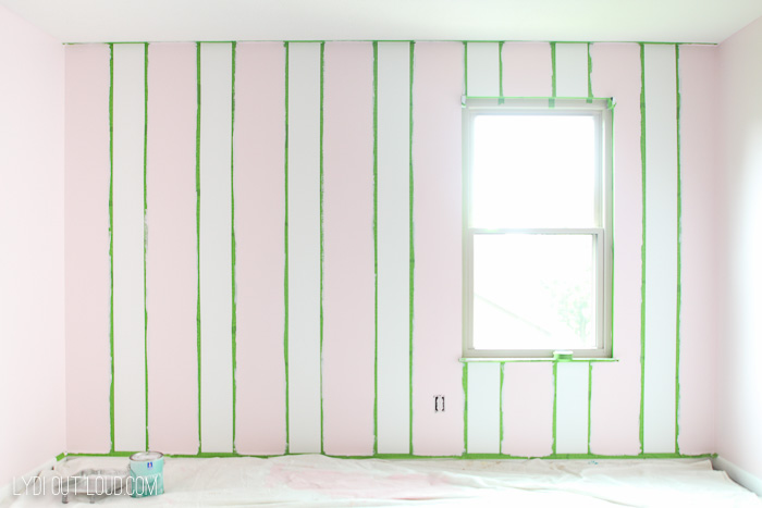 Paint vertical stripes for Buffalo Check accent wall