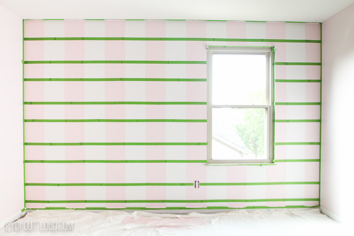 Tape off horizontal stripes for painted buffalo check wall