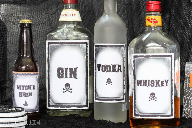 Free printable Halloween drink labels