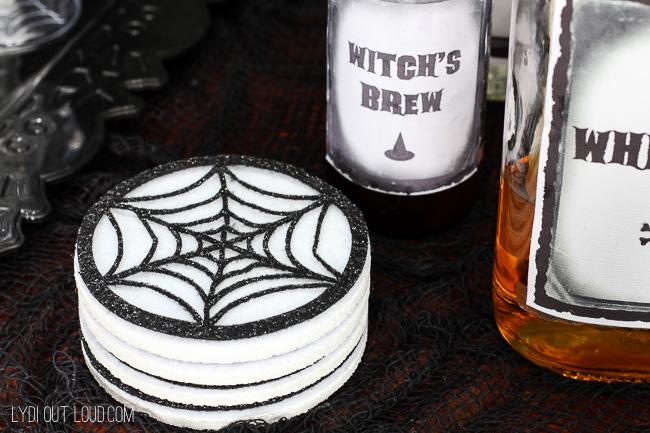 Halloween drink labels with DIY Spiderweb Coasters