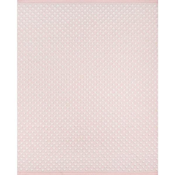 Pink and White Nursery Area Rug