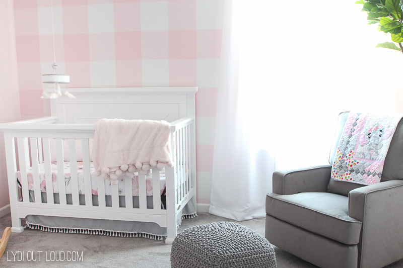 Girl Nursery Buffalo Check Accent Wall