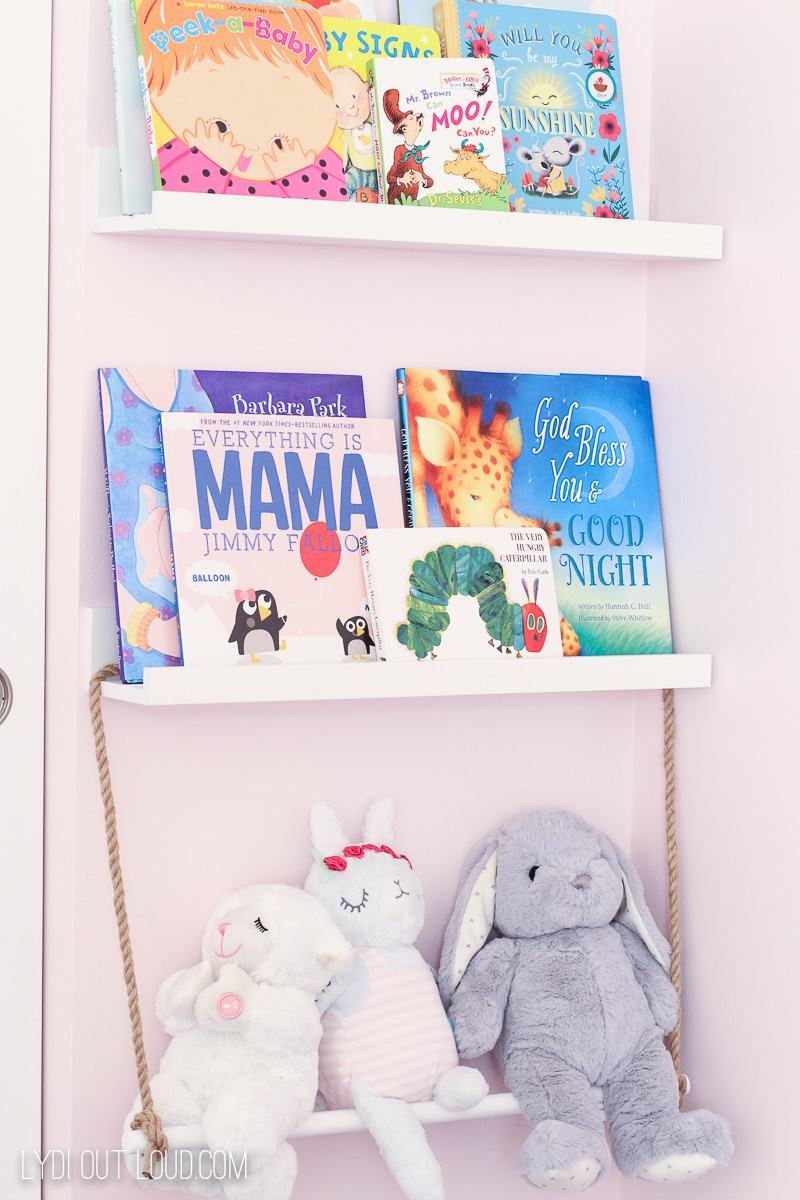 Little Girl's Room Bookshelf and Stuffed Animal storage