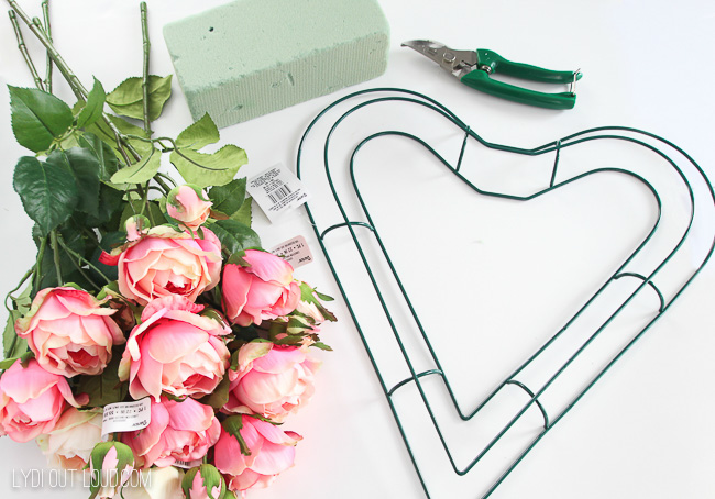 DIY Floral Valentine's Day Wreath Supplies
