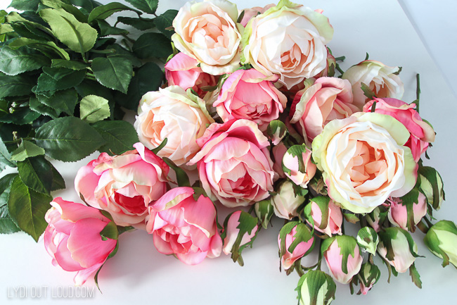 English Rose stems for Floral Valentine's Day Wreath