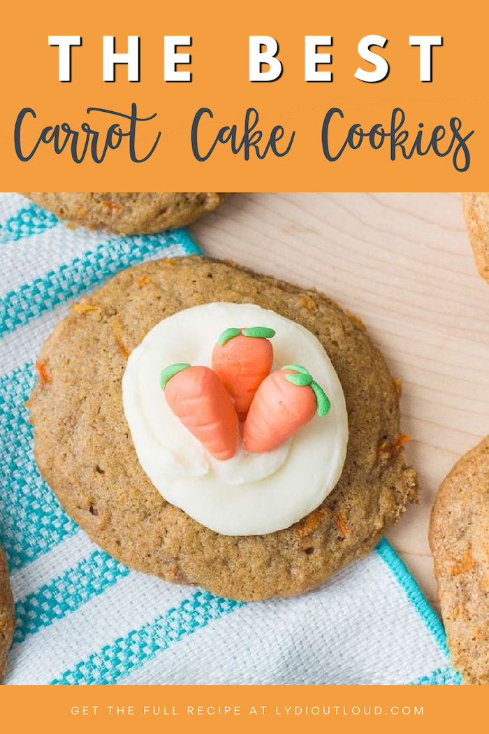 Deliciously Moist and Soft Carrot Cake Cookies #carrotcake #softcookies #creamcheesefrosting #cookierecipe via @lydioutloud