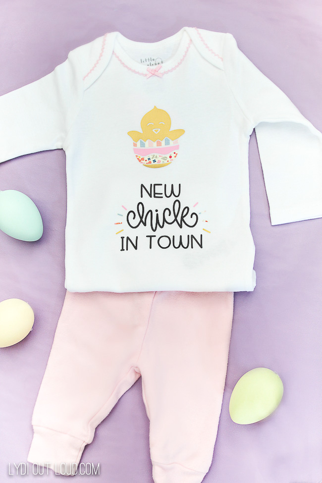 Baby's First Easter onesie made with Cricut machine