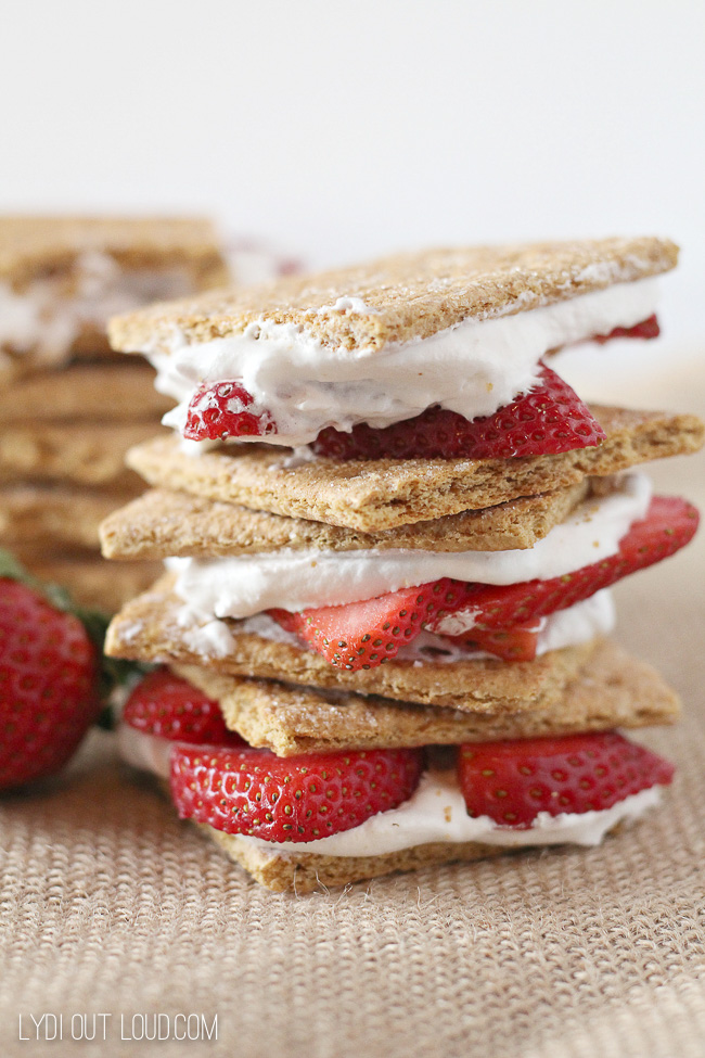 Light and refreshing low calorie Strawberry Shortcake Stacks