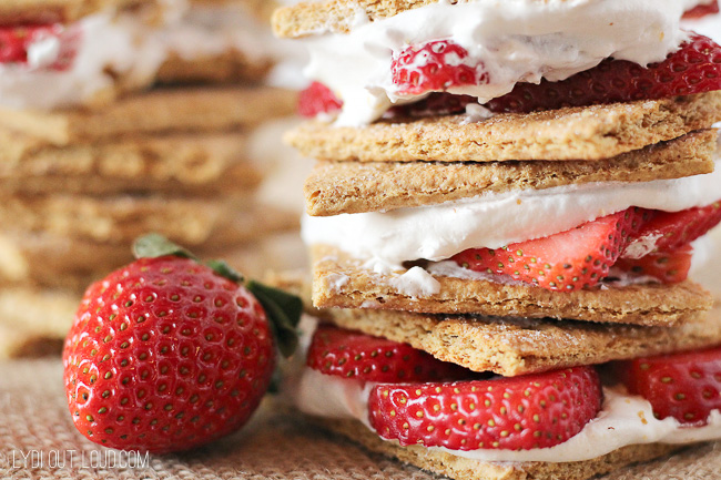 Light and delicious bite-sized Strawberry Shortcake Stacks