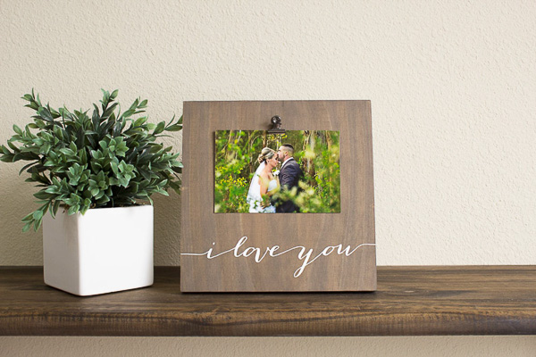 Wood I Love 5 year anniversary picture frame