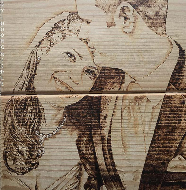 Custom wood burned portrait 5 year anniversary gift