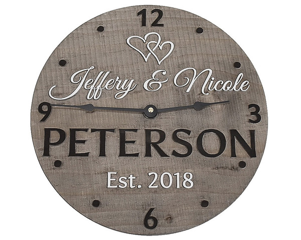 Personalized Wooden Clock - wood anniversary gifts