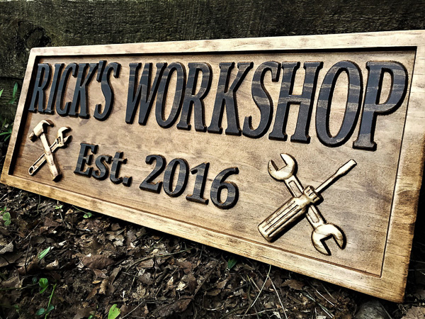 Personalized wood workshop sign - 5 year anniversary gift