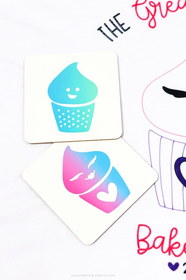 Darling Infusible Ink Gradiant Cupcake Coasters