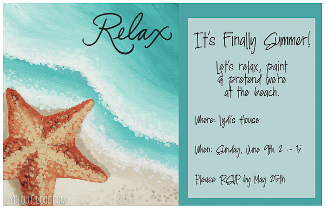 Beach themed painting party invitation