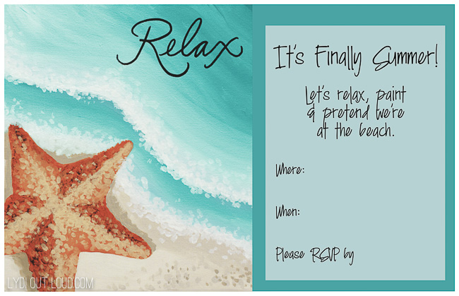 Beach themed party invitation printable template