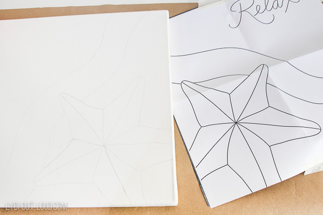 carbon traced canvas painting