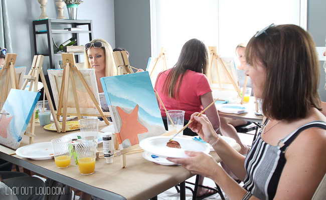 Beach themed social artworking party