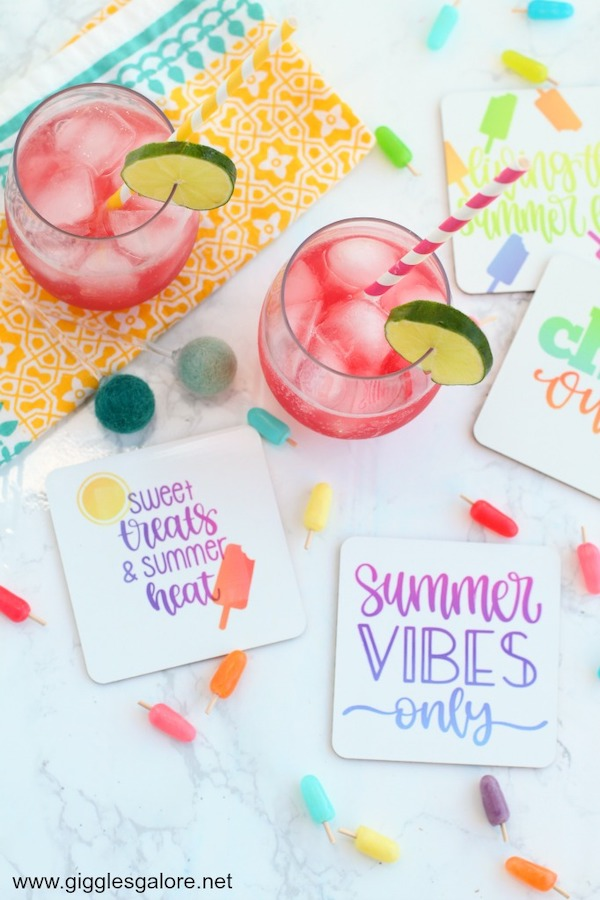 Summer drink coasters with Cricut Infusible Ink