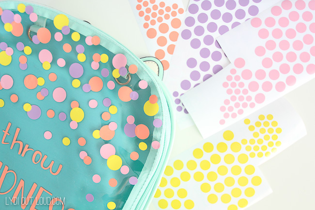 DIY confetti for customized backpack