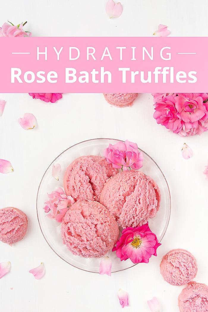 Luxurious and hydrating DIY Rose Bath Truffles via @lydioutloud